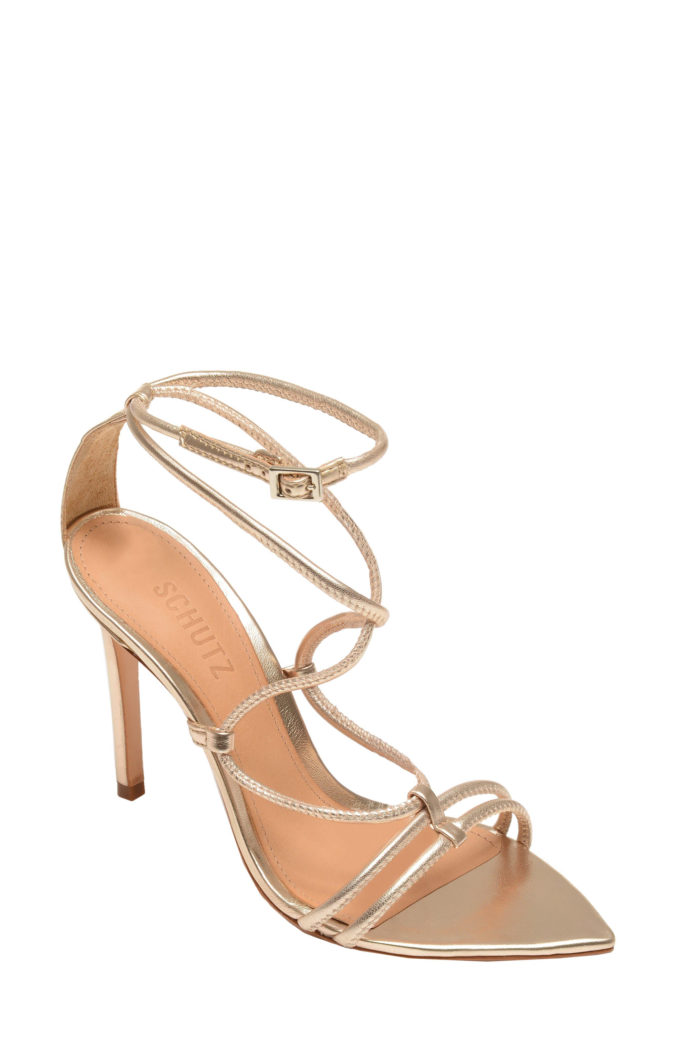 Schutz Evellyn Strappy Sandal- Metallic