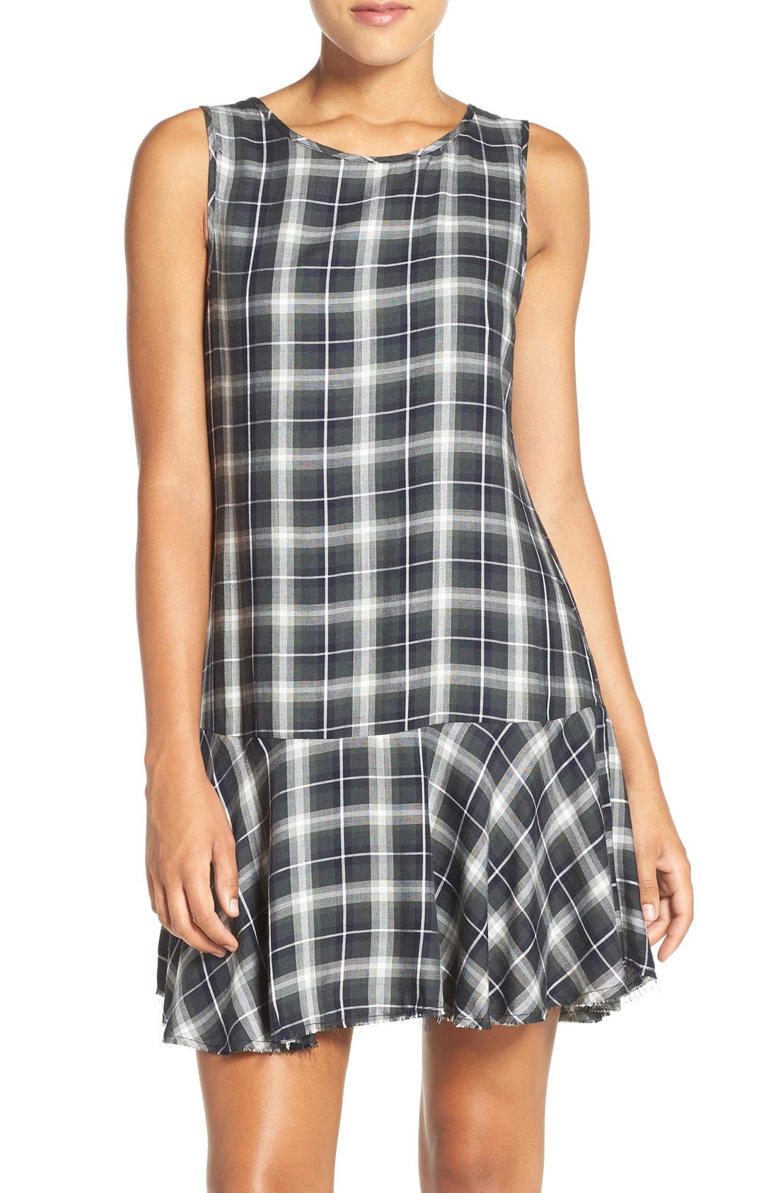 ,                             'Reyes' Plaid Drop Waist Dress,                             Main thumbnail 6, color,                             306