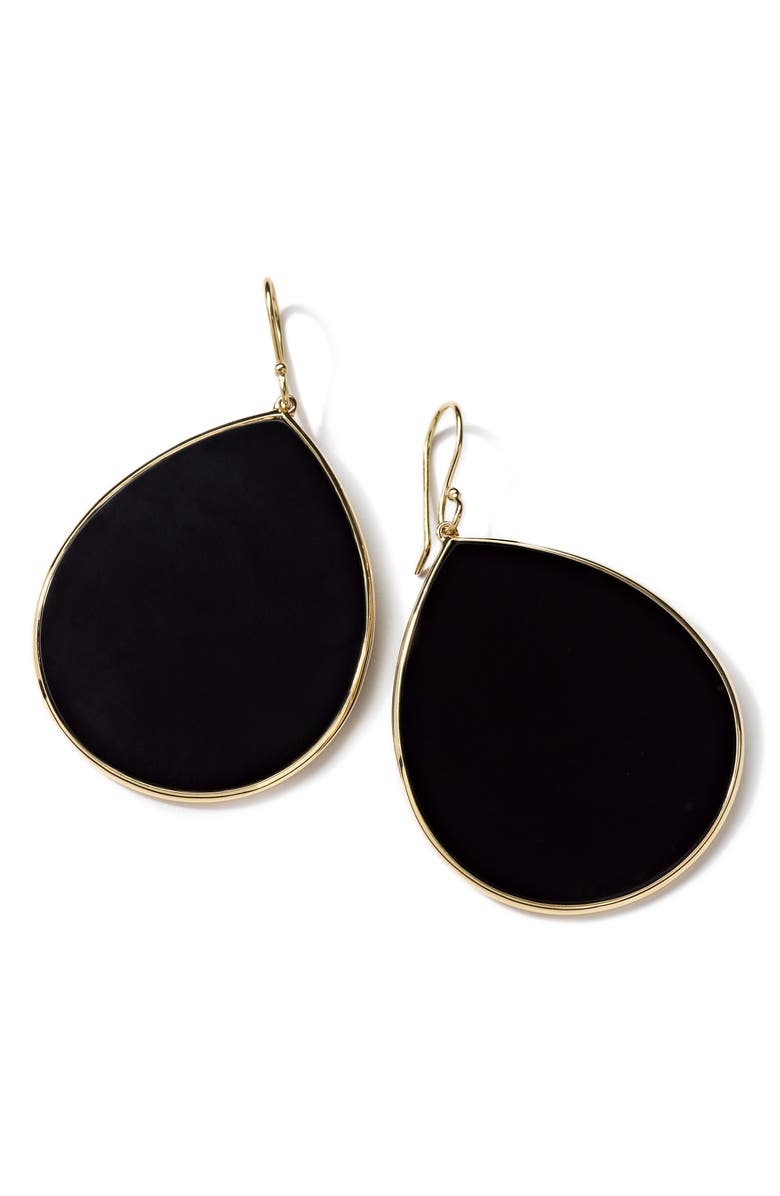 IPPOLITA 'Rock Candy - Jumbo Teardrop' 18k Gold Earrings, Main, color, GOLD/ BLACK ONYX