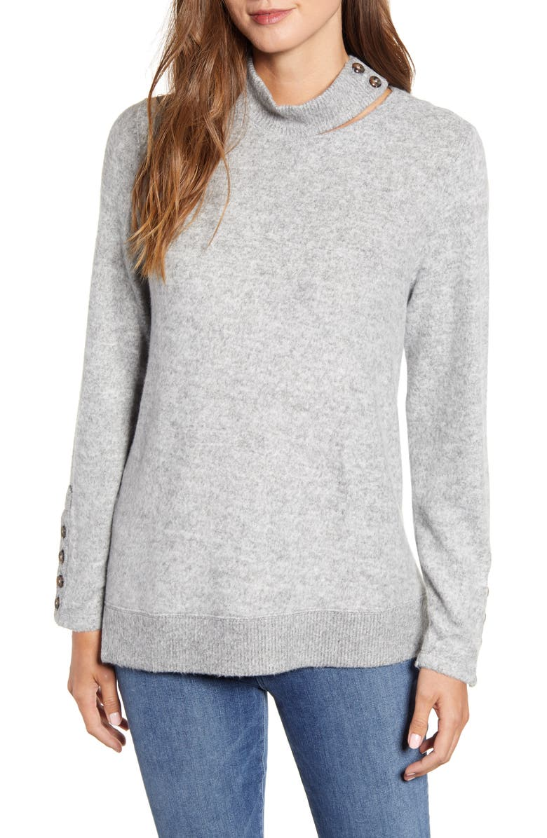 WIT & WISDOM Mock Neck Sweater, Main, color, HEATHER GREY