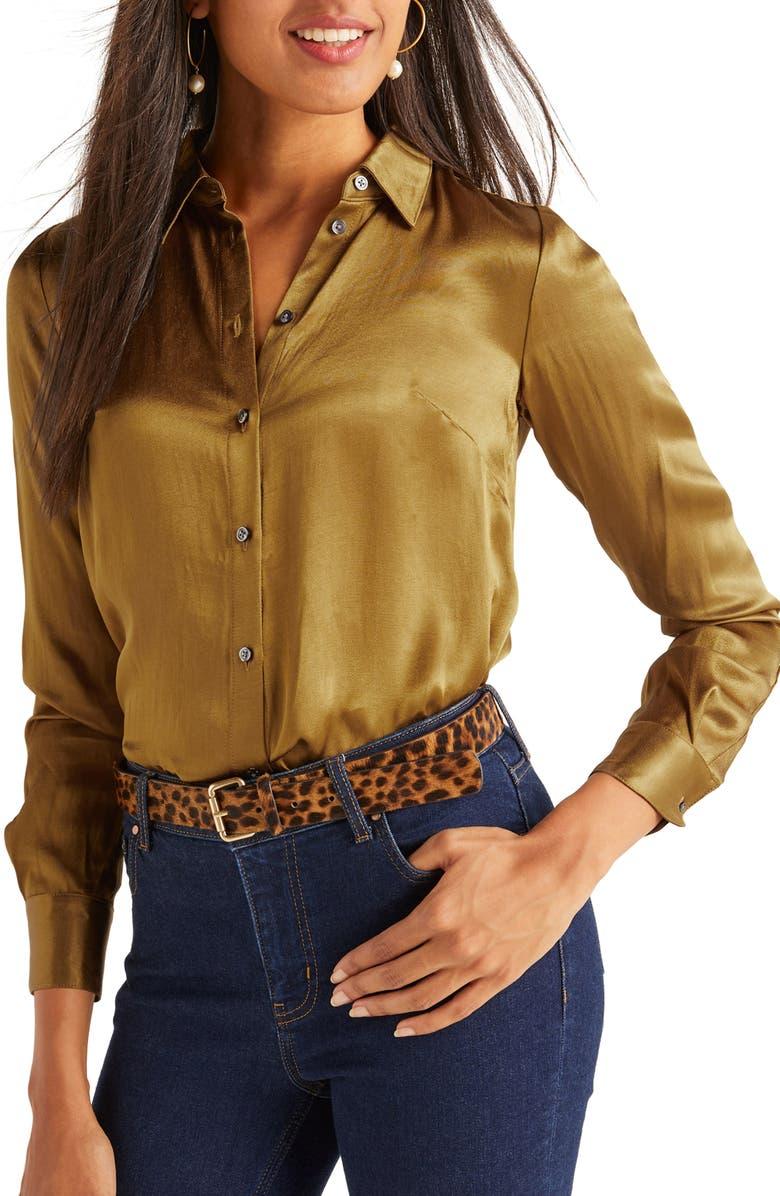 BODEN Anita Satin Button-Up Shirt, Main, color, TRUMPET