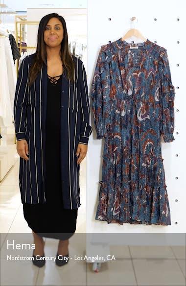 Paola Ruffle Long Sleeve Midi Dress, sales video thumbnail
