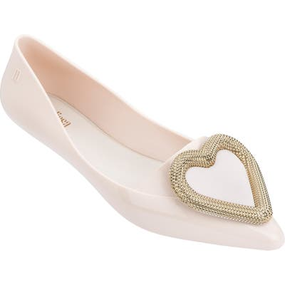 Melissa Pointy Heart Jelly Flat, Beige