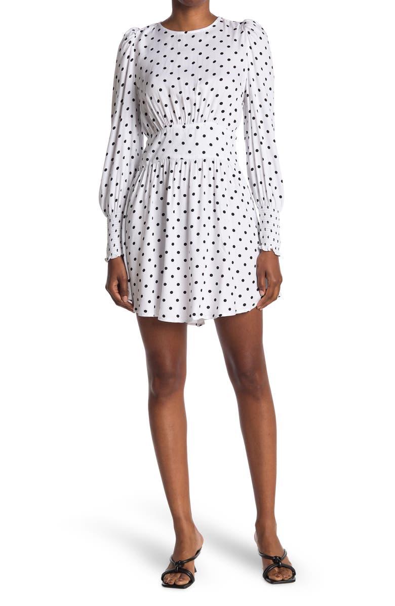 AFRM Floral Long Sleeve Cutout Smocked Mini Dress, Main, color, BLANC POLKA DOT