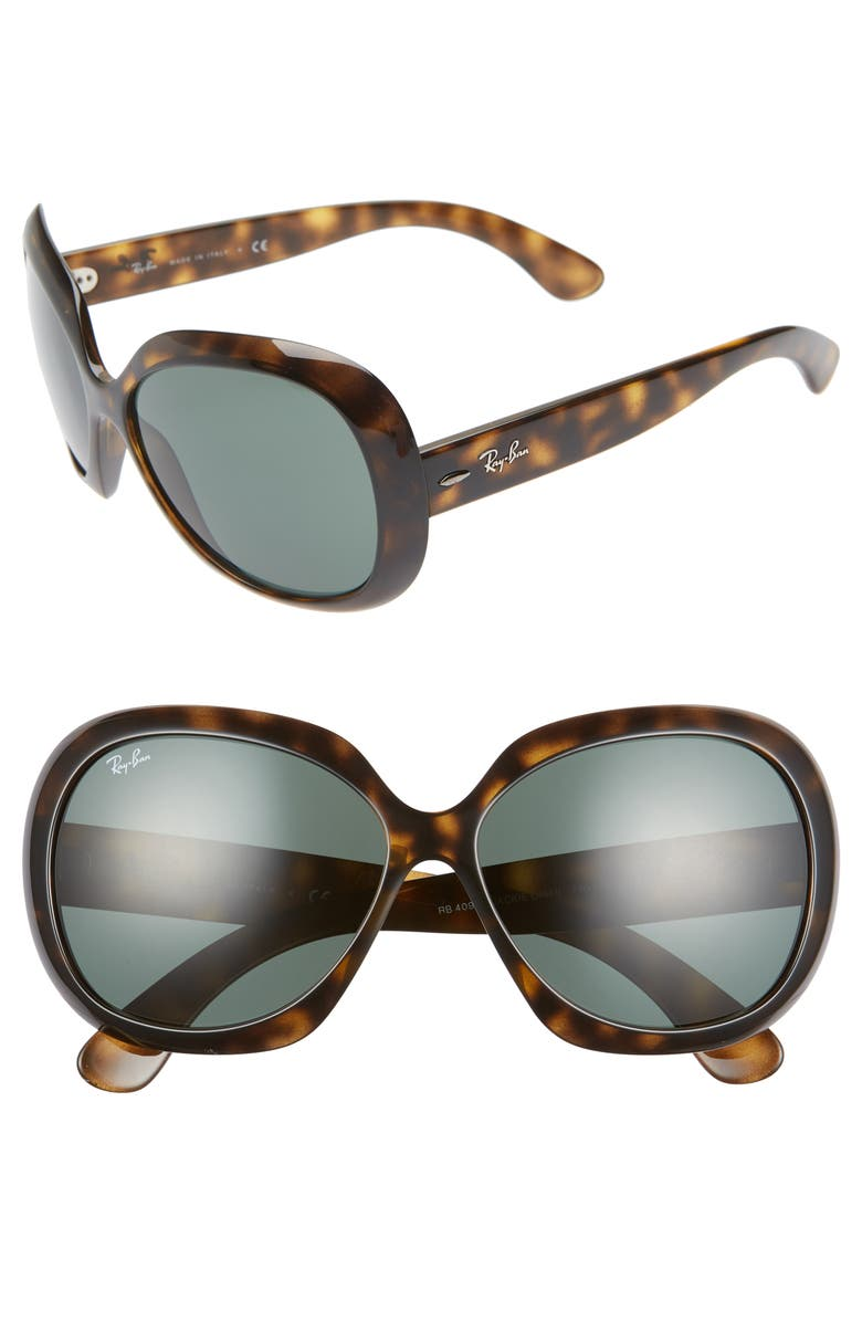 RAY-BAN 60mm Large Vintage Round Frame Sunglasses, Main, color, HAVANA BROWN/ GREEN SOLID