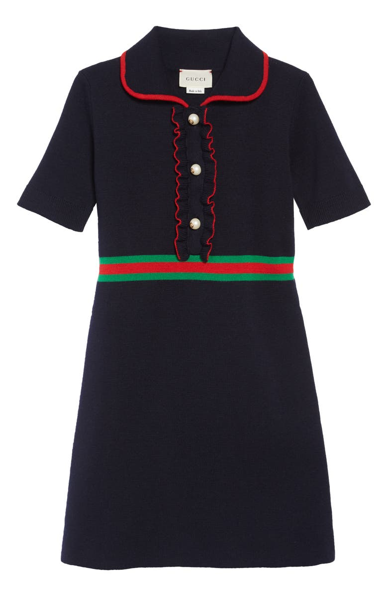 GUCCI Merino Wool Polo Dress, Main, color, NAVY/ SHAMROCK/ L.RED