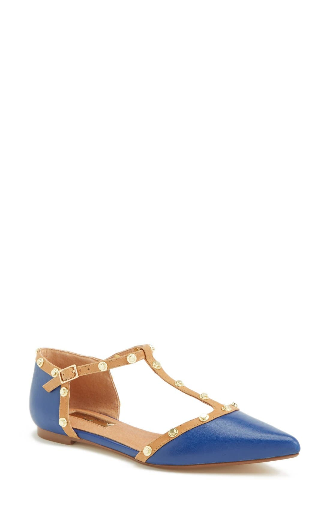 ,                             'Olson' Pointy Toe Studded T-Strap Flat,                             Main thumbnail 45, color,                             405