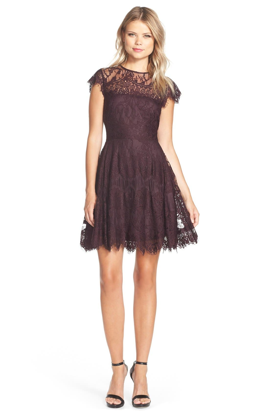 ,                             Rhianna Open Back Lace Fit & Flare Cocktail Dress,                             Alternate thumbnail 55, color,                             502