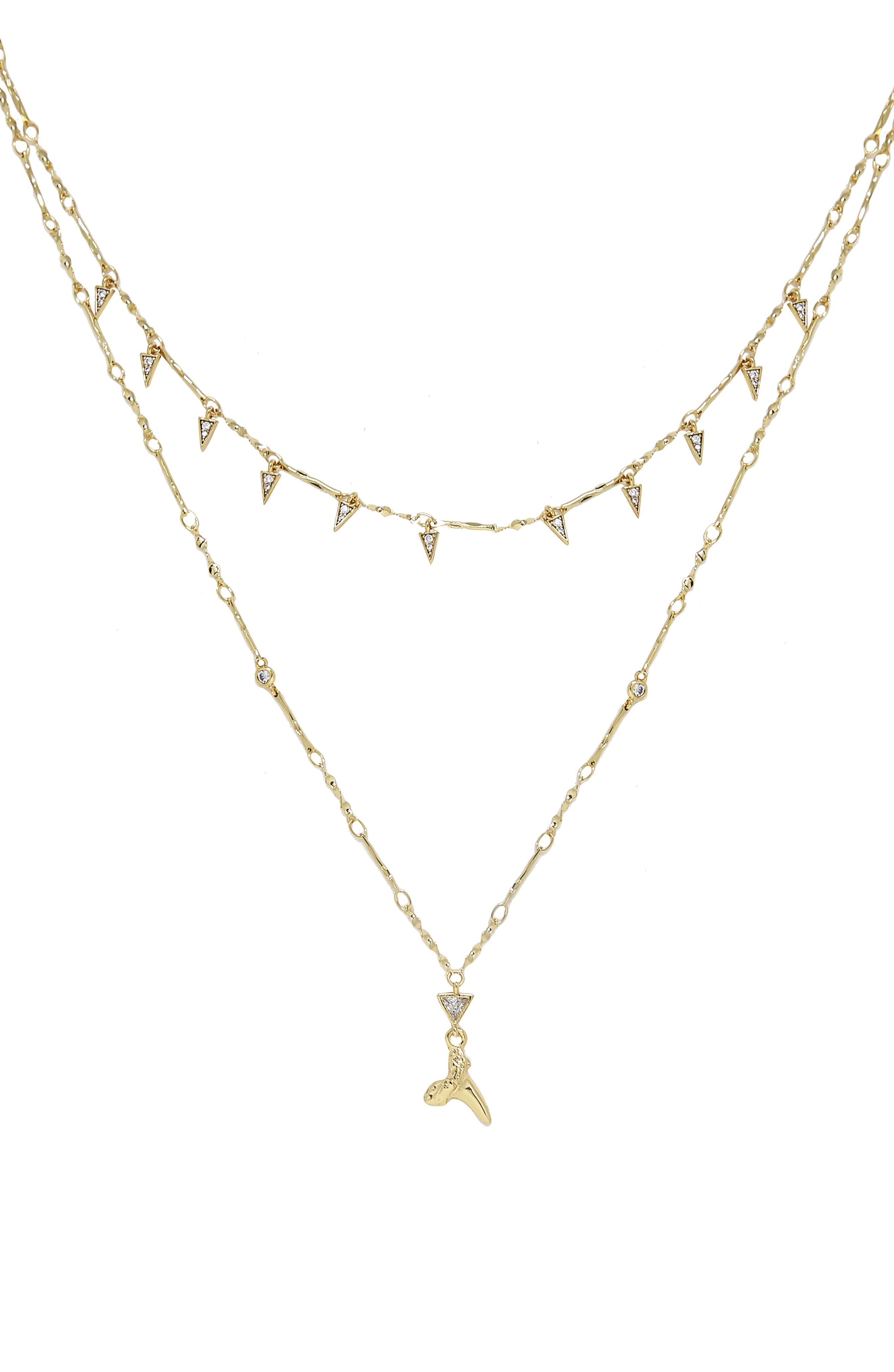 Shark Tooth Pendant Multistrand Necklace