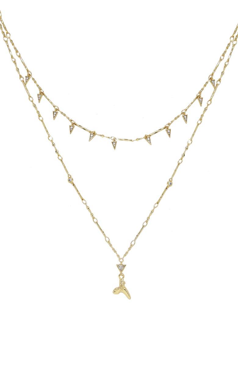 ETTIKA Shark Tooth Pendant Multistrand Necklace, Main, color, GOLD