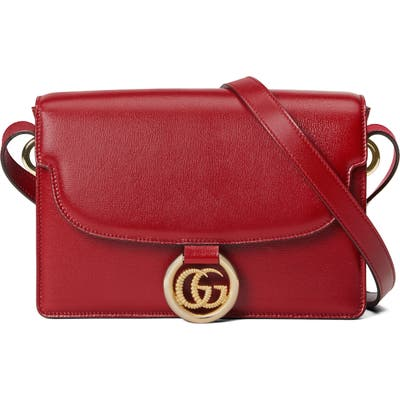 Gucci Small Gg Ring Leather Shoulder Bag - Red