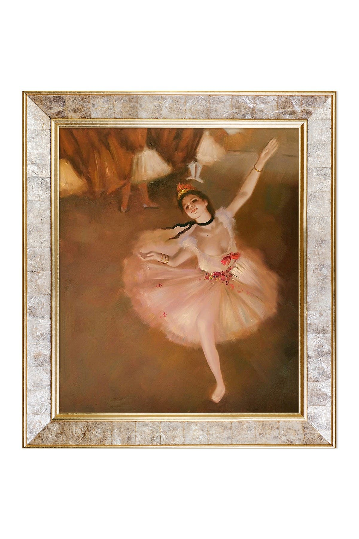 Image of Overstock Art Star Dancer (On Stage) by Edgar Degas Framed Hand Painted Oil Reproduction