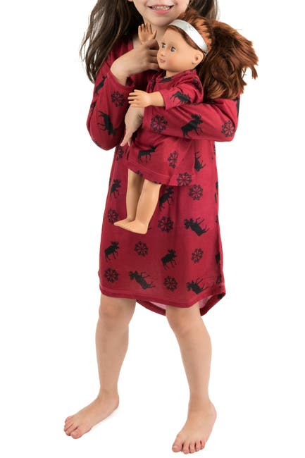 Image of Leveret Moose Nightgown & Matching Doll Nightgown