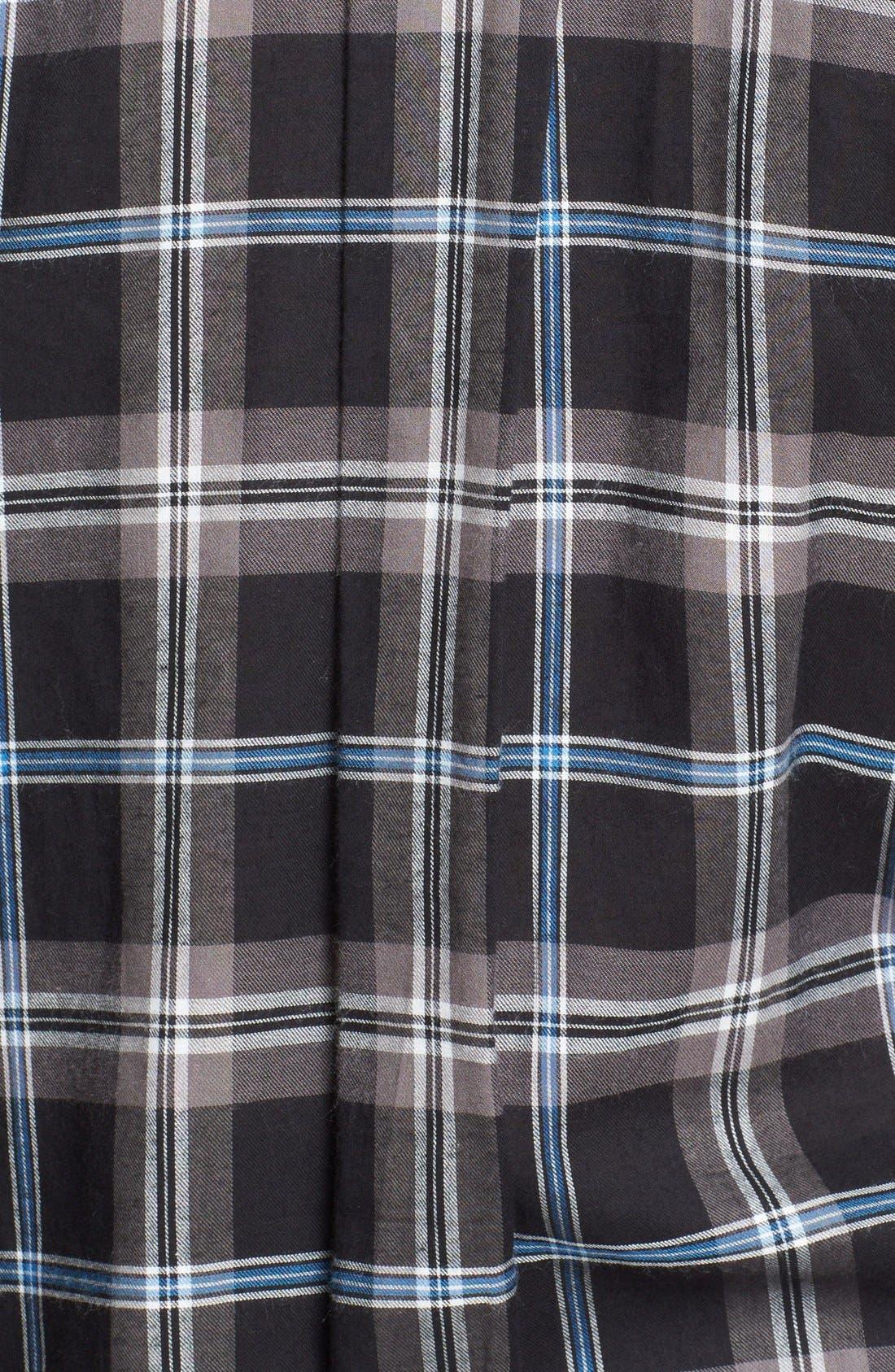 ,                             Leather Trim Plaid Long Sleeve Shirt,                             Alternate thumbnail 3, color,                             001