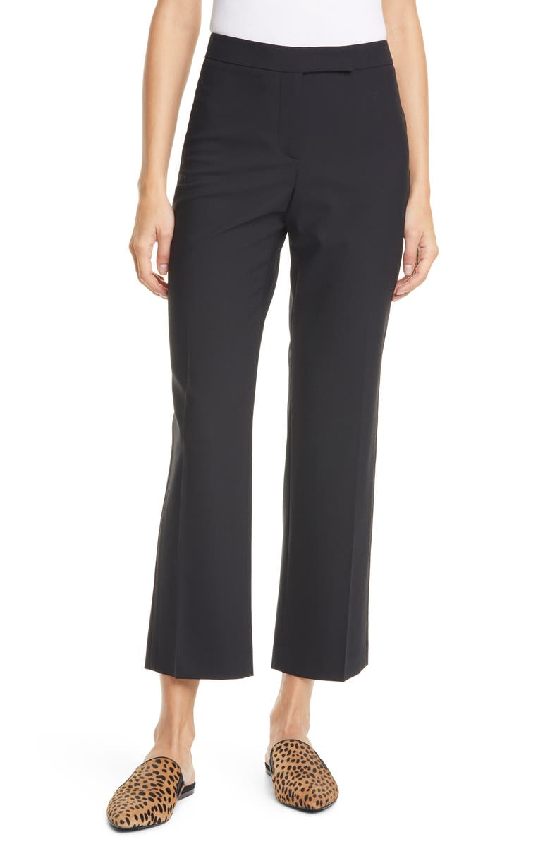 JUDITH & CHARLES Prato Topstitch Detail Stretch Wool Trousers, Main, color, BLACK