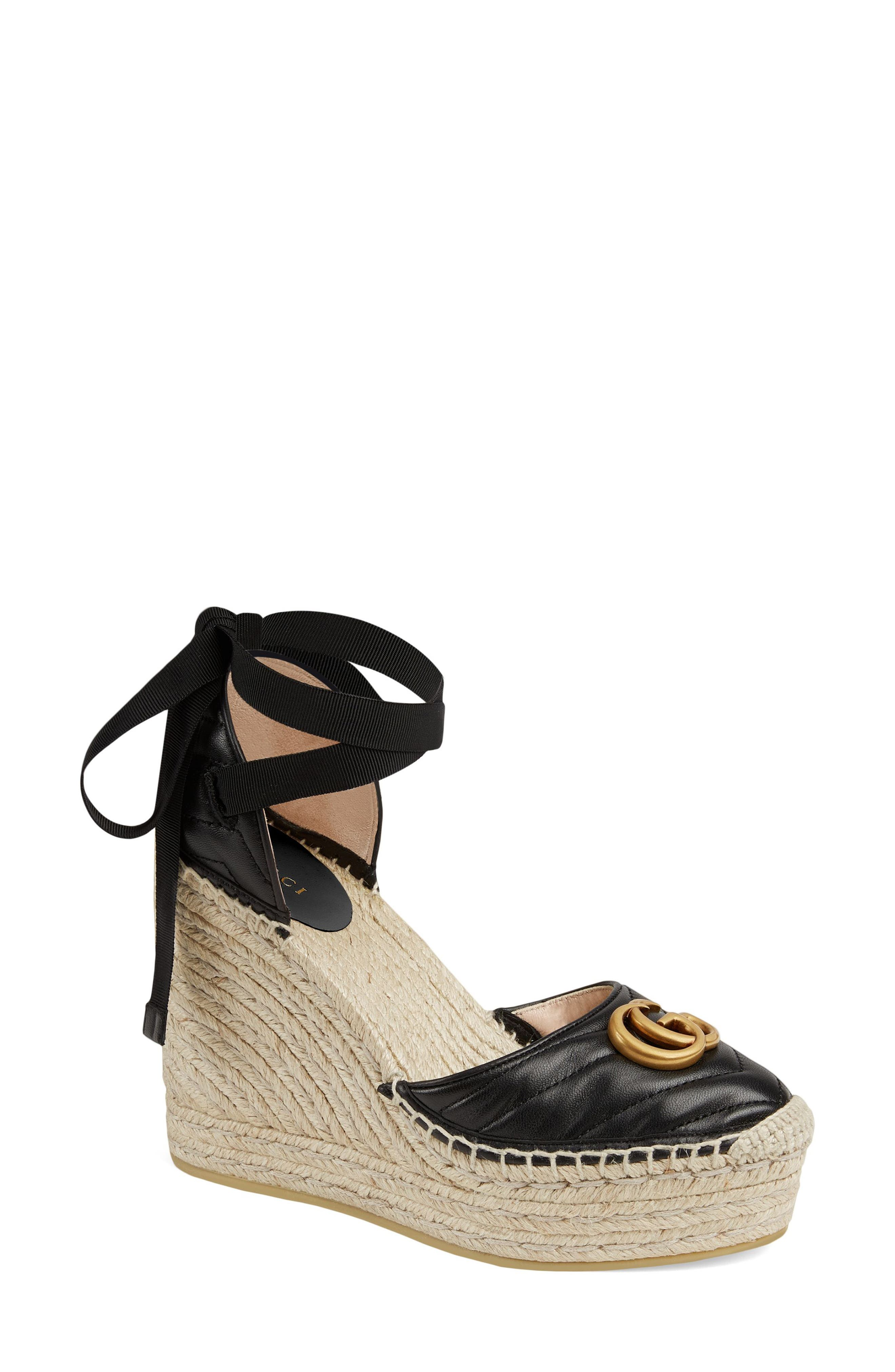 Gucci Palmyra Ankle Tie Espadrille Wedge, Black