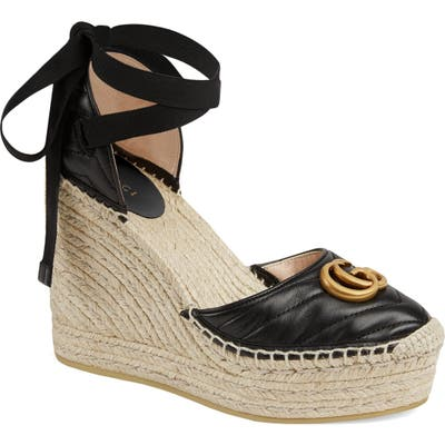 Gucci Palmyra Ankle Tie Espadrille Wedge, Black
