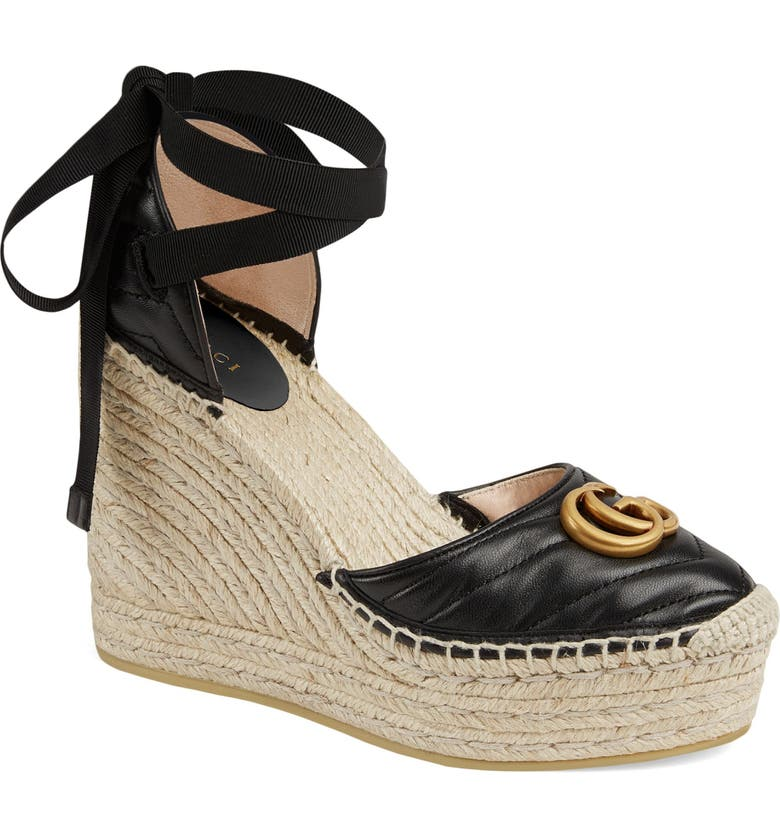 GUCCI Palmyra Ankle Tie Espadrille Wedge, Main, color, BLACK