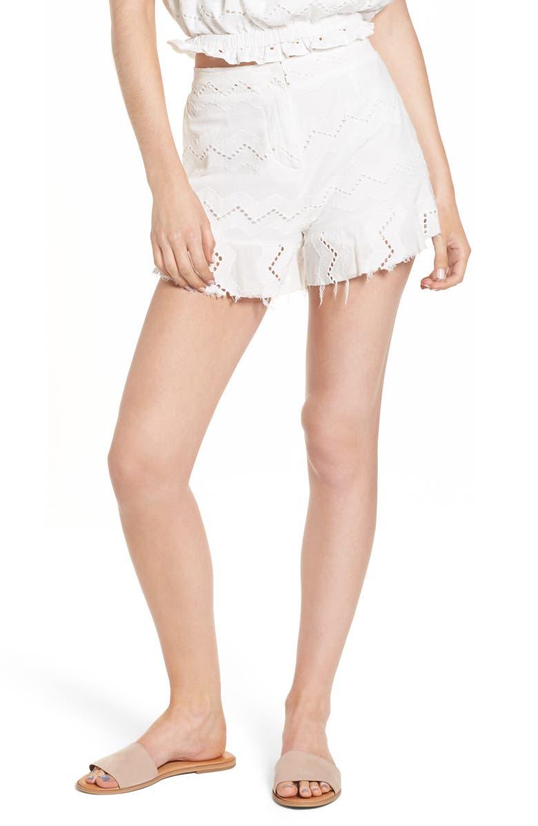MOON RIVER Eyelet Ruffle Hem High Waist Shorts, Main, color, 100