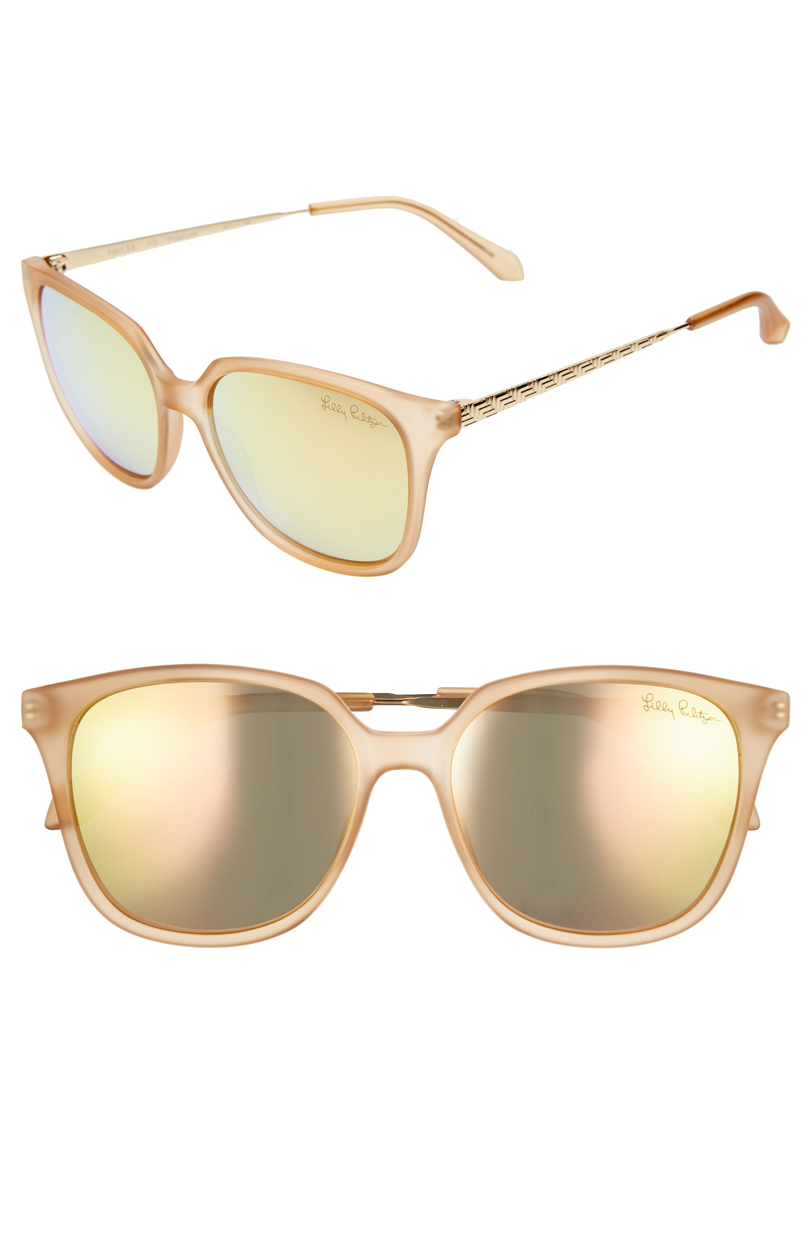 Lilly Pulitzer Haylee 5m Sunglasses - Matte Crystal Gold/ Gold