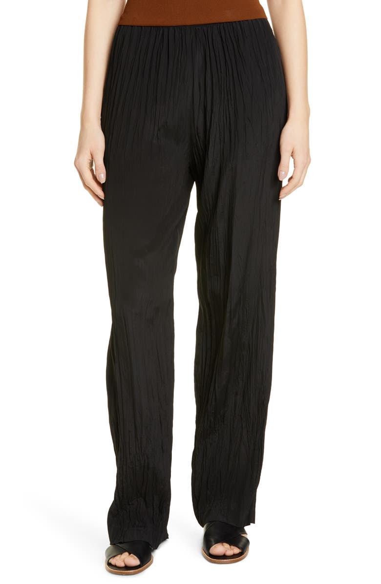 VINCE Crinkle Pull-On Pants, Main, color, BLACK