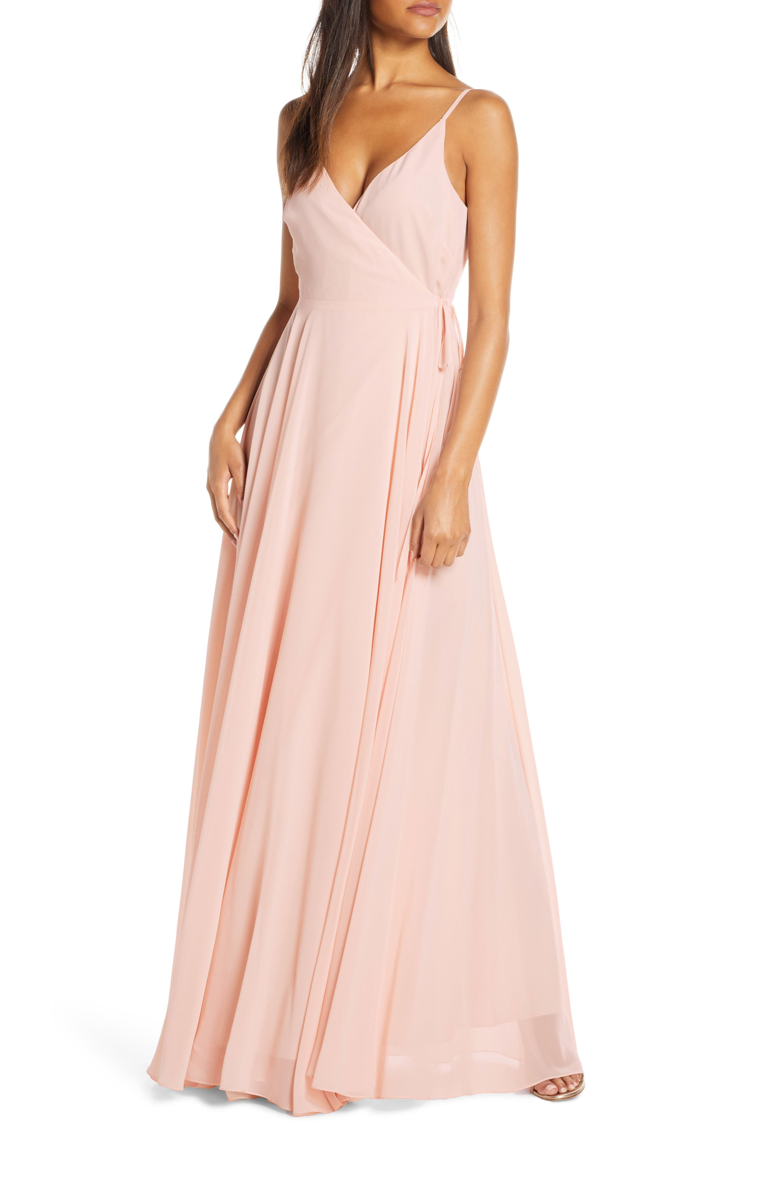 Jenny Yoo James Sleeveless Wrap Chiffon Evening Dress, Pink