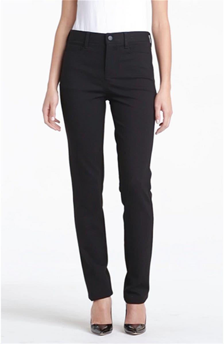 NYDJ Five-Pocket Stretch Ponte Straight Leg Pants, Main, color, 001