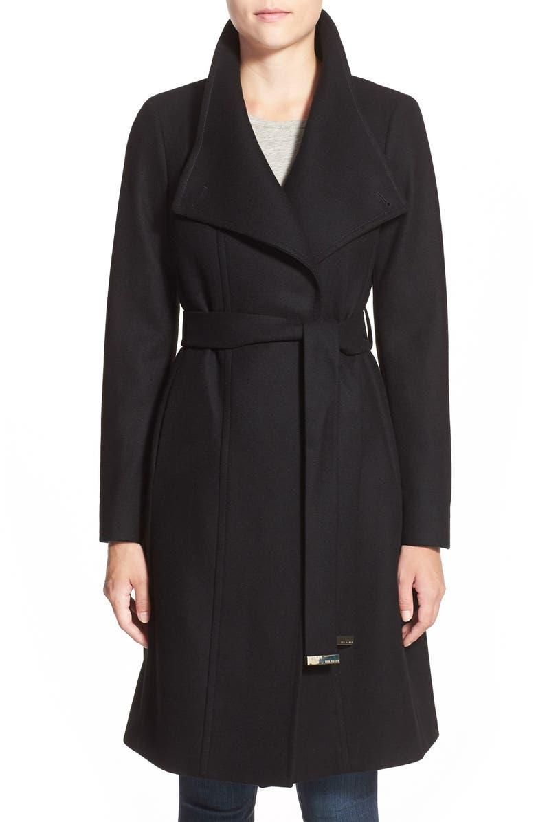 TED BAKER LONDON 'Lorili' Funnel Neck Wool Blend Wrap Coat, Main, color, 001