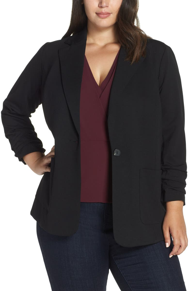 VINCE CAMUTO Ruched Sleeve Ponte Blazer, Main, color, RICH BLACK