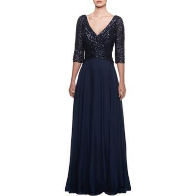 La Femme Chiffon & Sequin Gown, Blue
