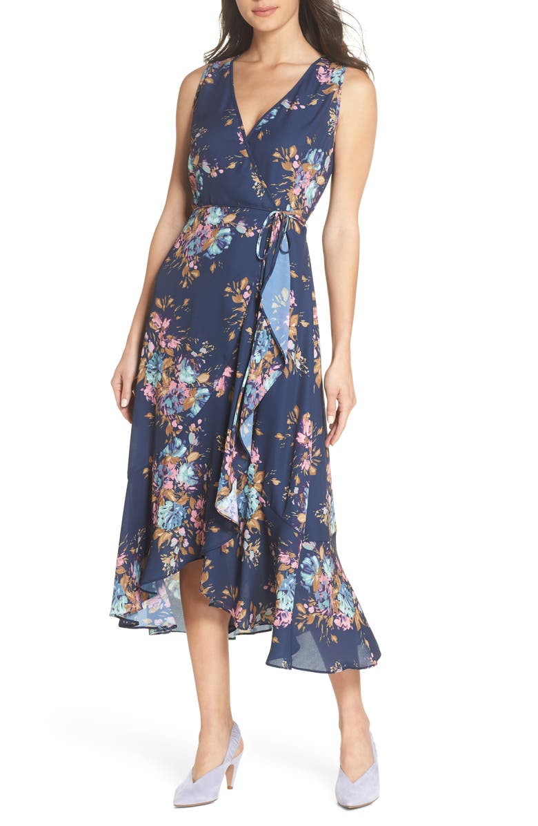 CHARLES HENRY Floral Sleeveless Wrap Dress, Main, color, 473