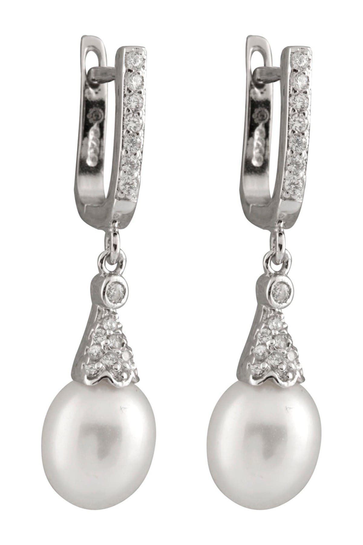 Image of Splendid Pearls 7-8mm Natural White Cultured Freshwater Pearl Drop Earrings