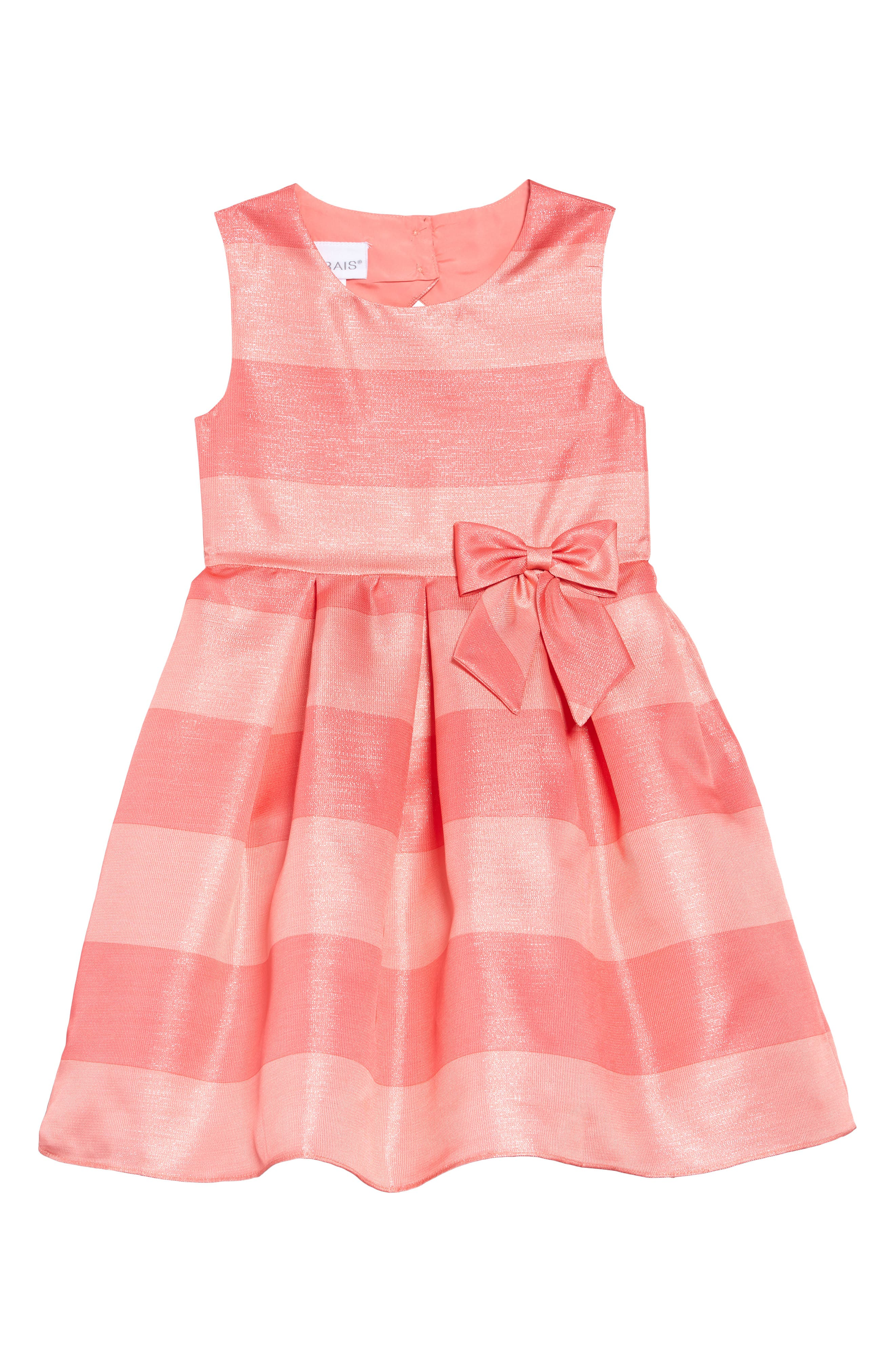 ,                             Shimmer Stripe Fit & Flare Dress,                             Main thumbnail 1, color,                             CORAL