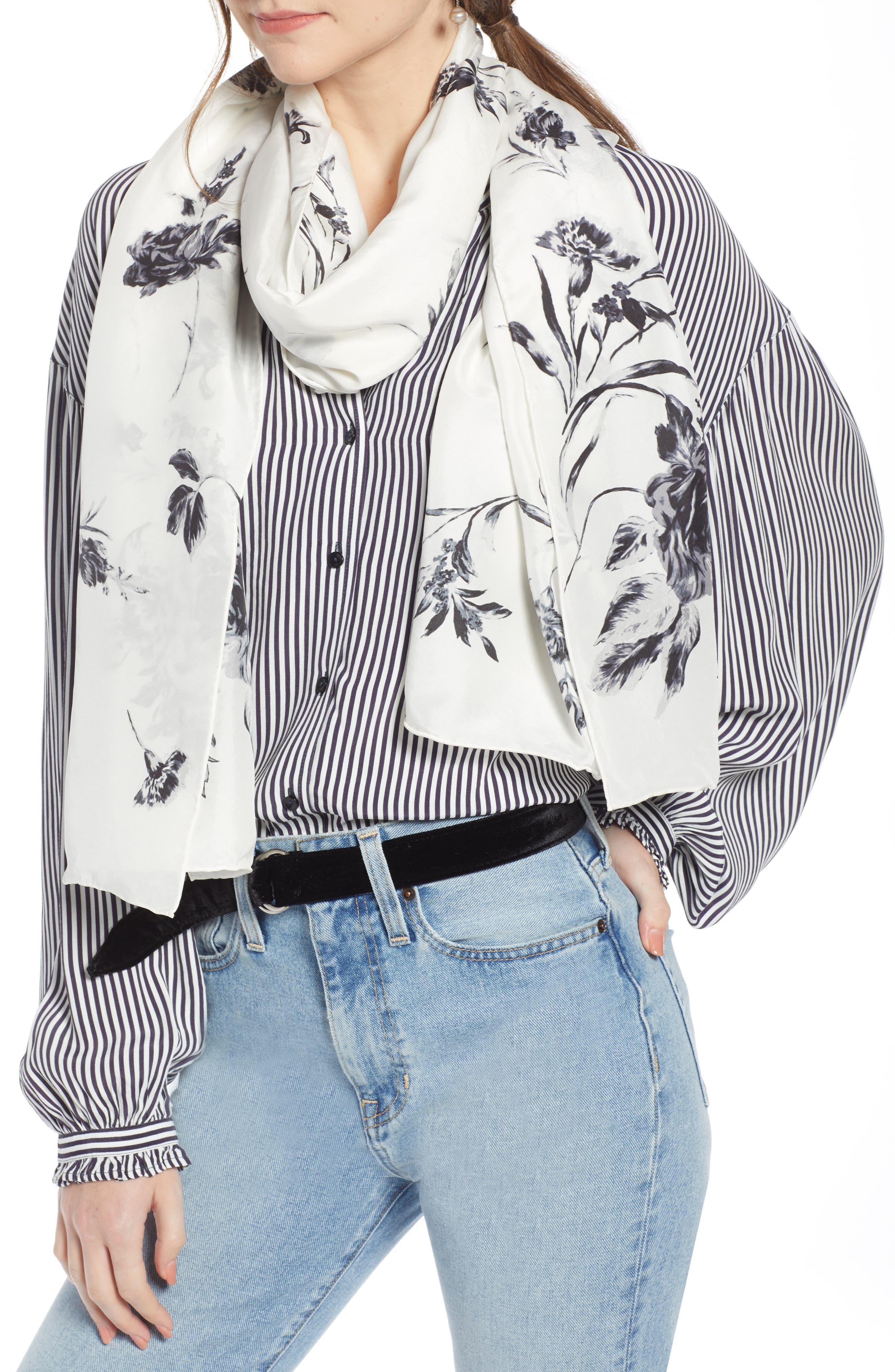 ,                             Floral Silk Wrap,                             Main thumbnail 5, color,                             900