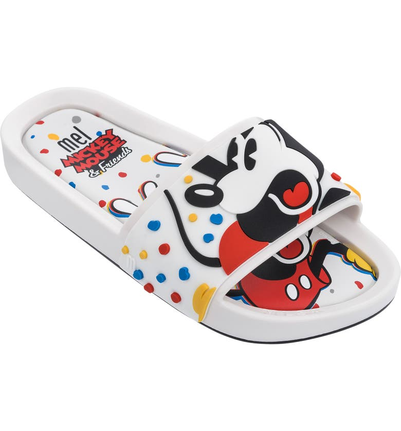 MEL BY MELISSA Mickey Mouse & Friends Beach Slide Sandal, Main, color, WHITE
