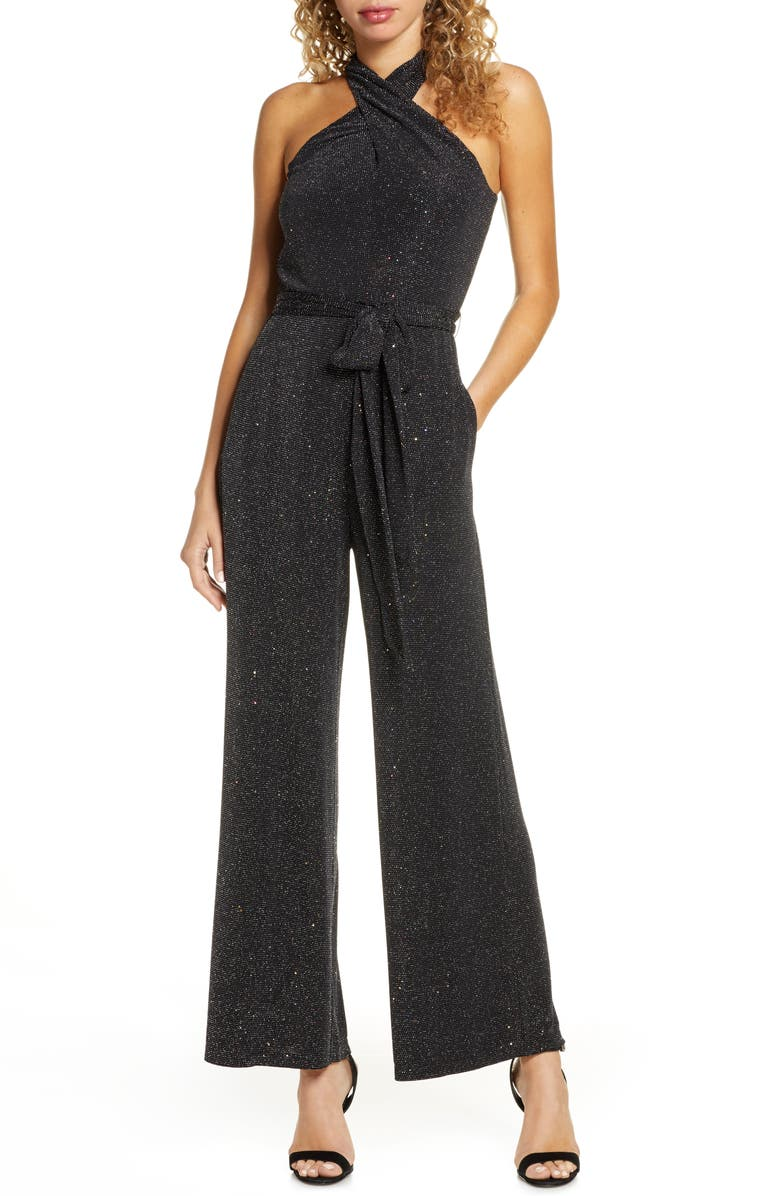 SAM EDELMAN Sparkle Halter Neck Jumpsuit, Main, color, BLACK SPRAKLE