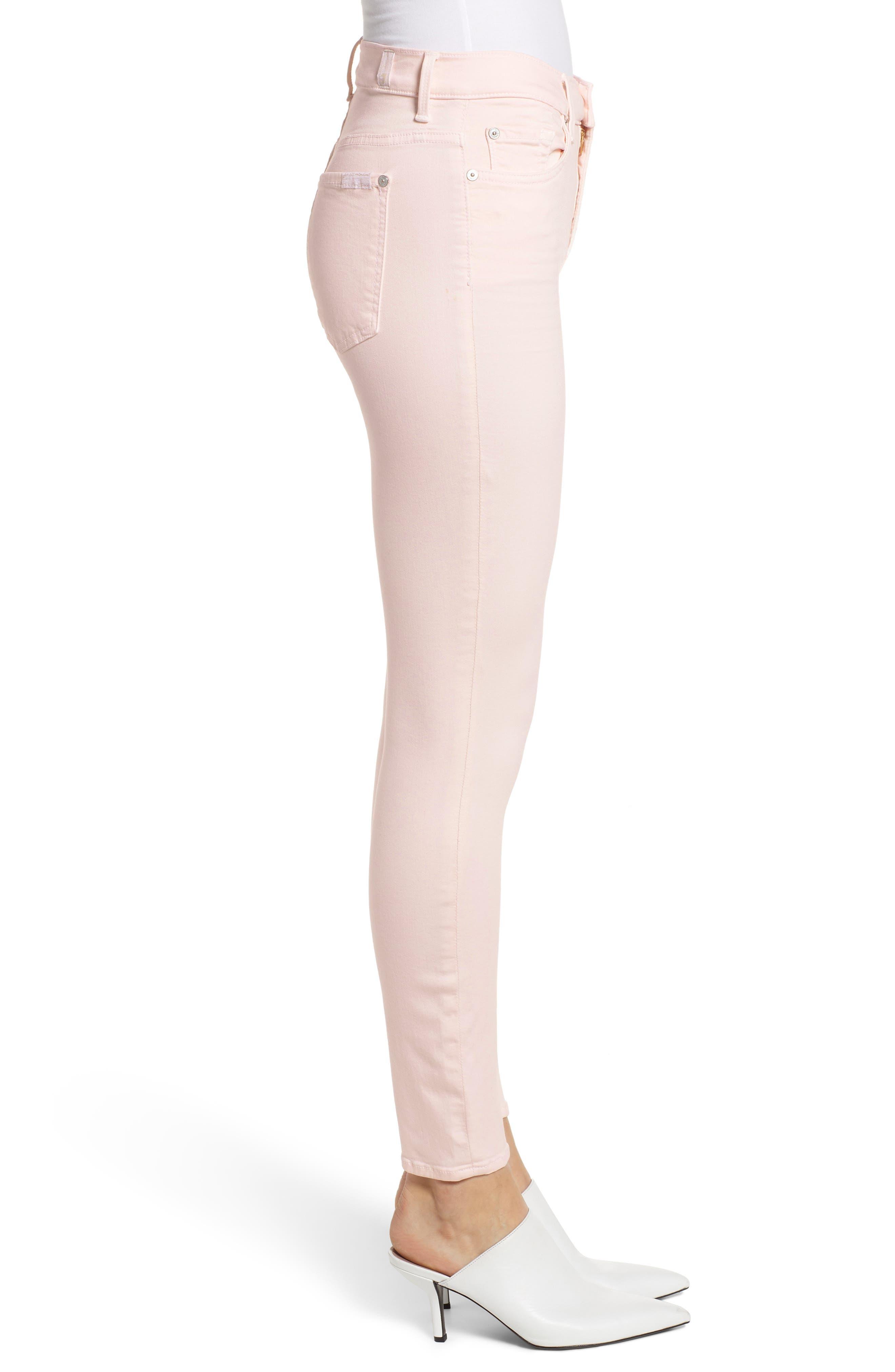 ,                             High Waist Ankle Skinny Jeans,                             Alternate thumbnail 4, color,                             PINK SUNRISE