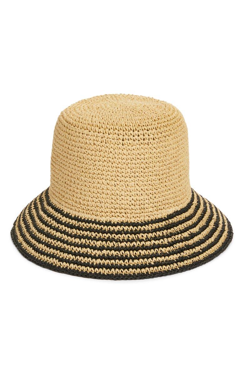 NORDSTROM Stripe Brim Straw Bucket Hat, Main, color, NATURAL COMBO