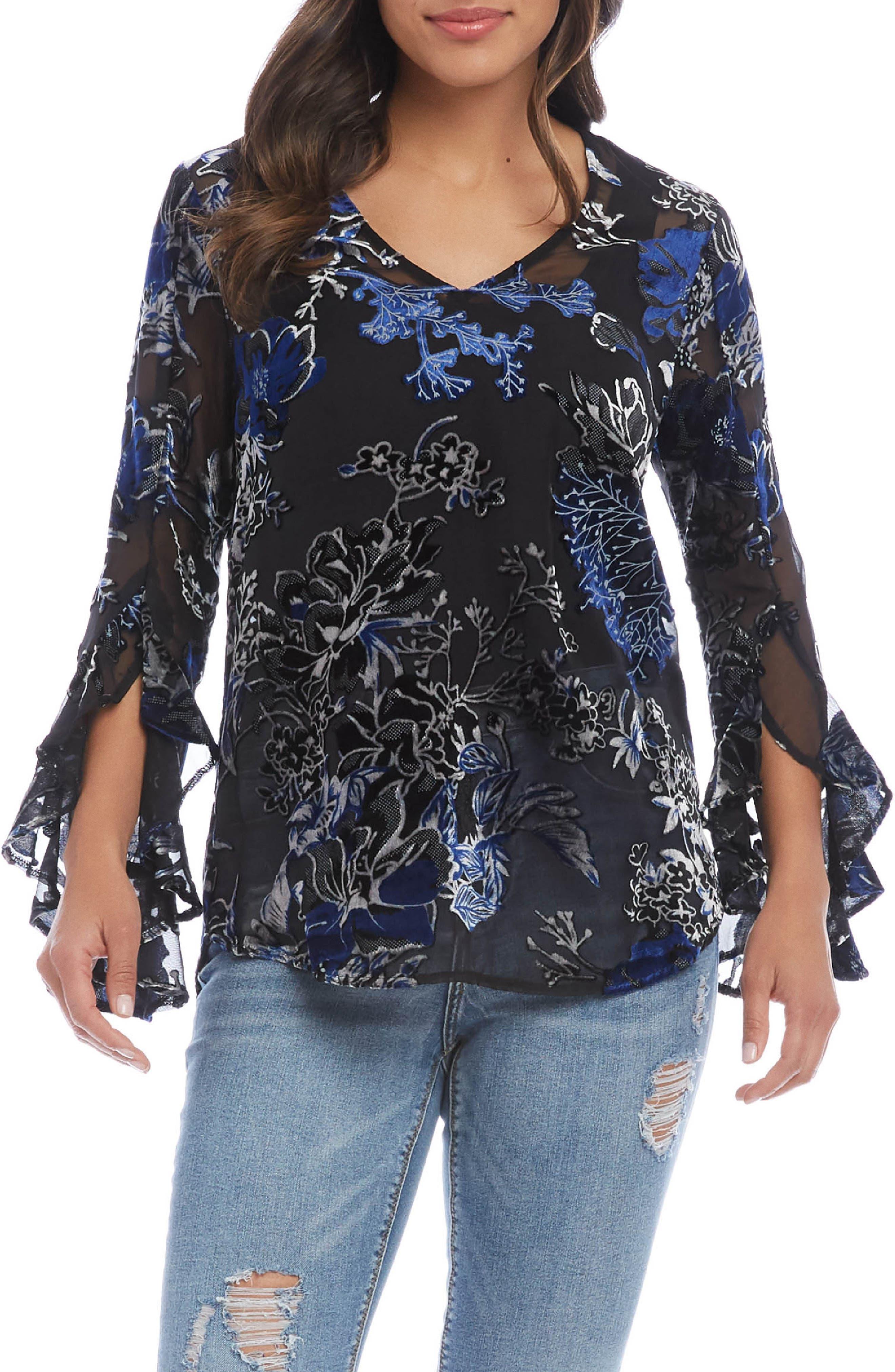 Image of Karen Kane Floral Ruffle Sleeve Burnout Top