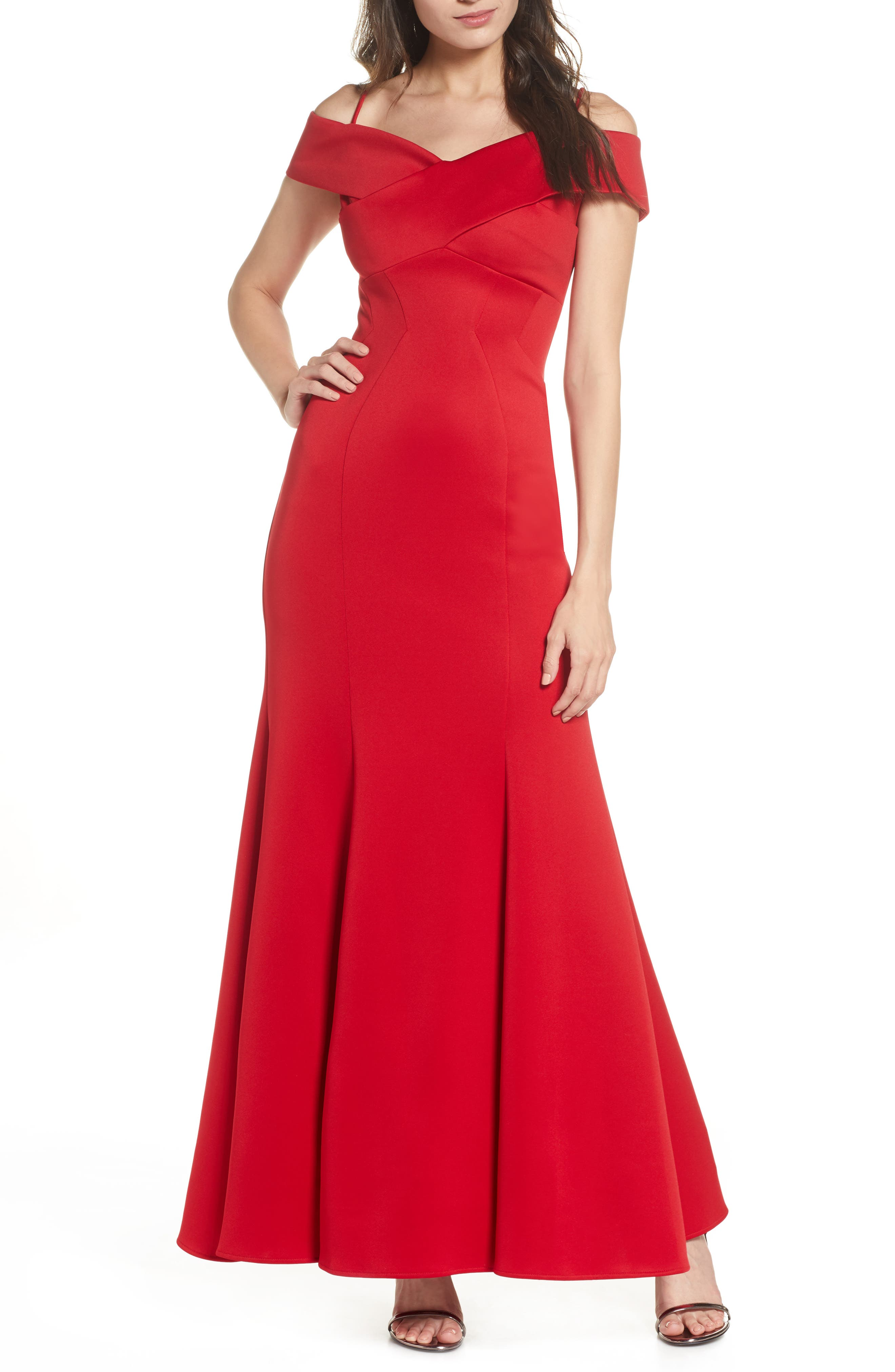 Morgan & Co. Cold Shoulder Scuba Mermaid Evening Gown, Red