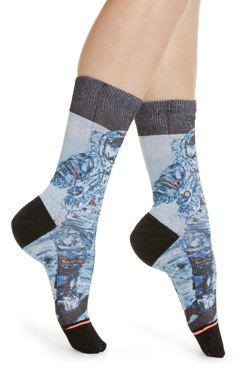 STANCE No End Metallic Crew Socks, Main, color, BLACK