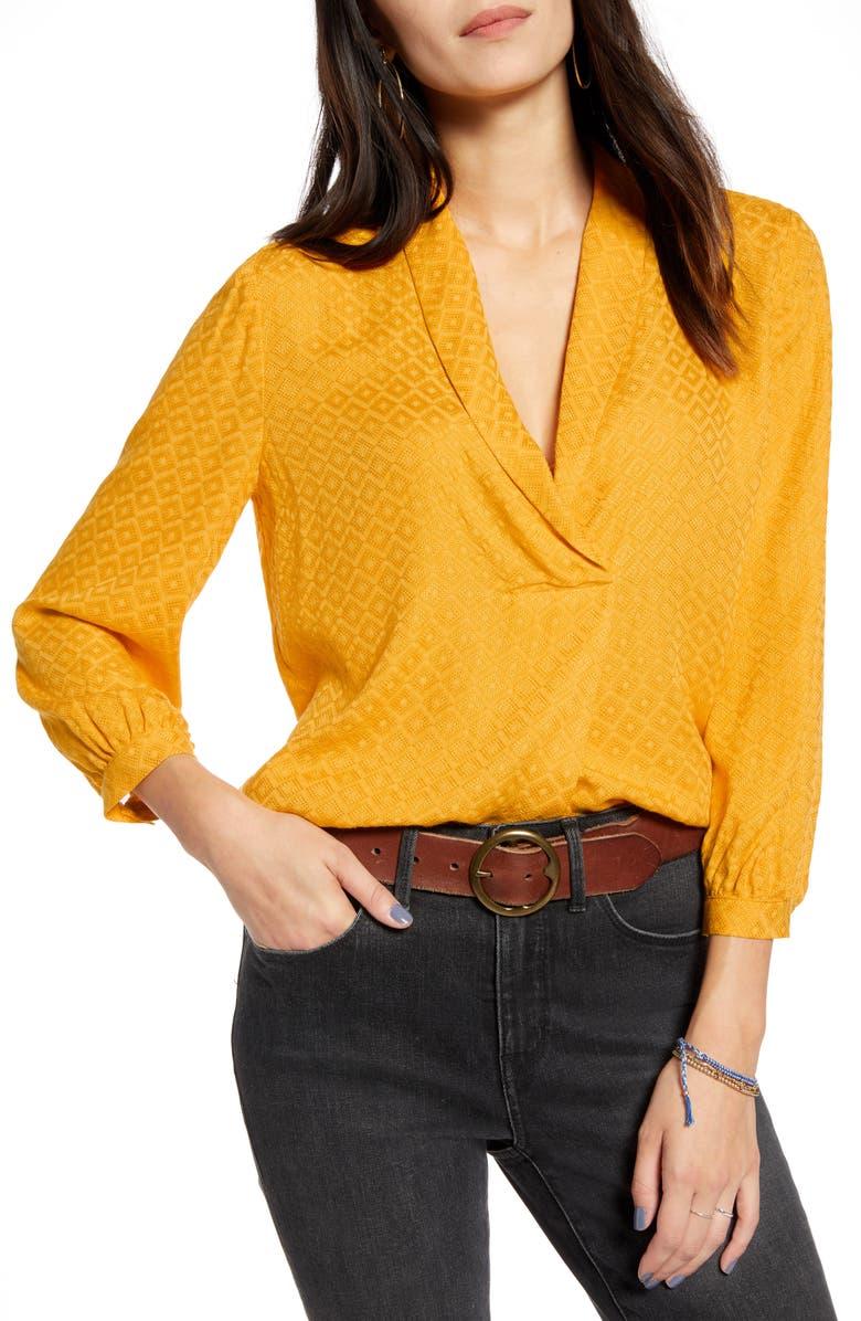 TREASURE & BOND Shawl Collar Texture Top, Main, color, YELLOW GLEAM