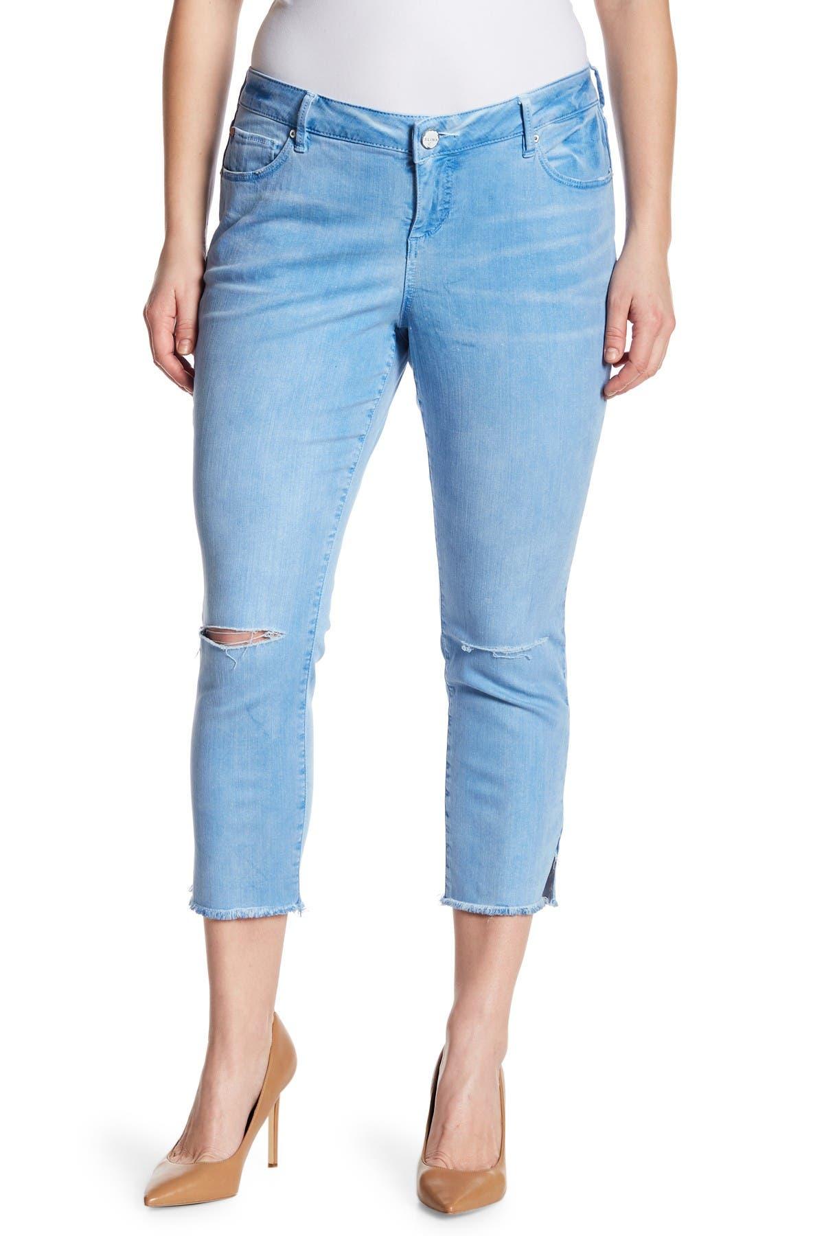 Image of SLINK JEANS Frayed Hem Skinny Jeans