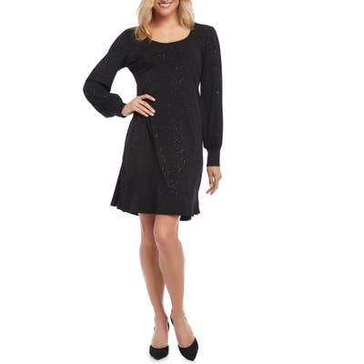 Karen Kane Sparkle Knit A-Line Dress, Black
