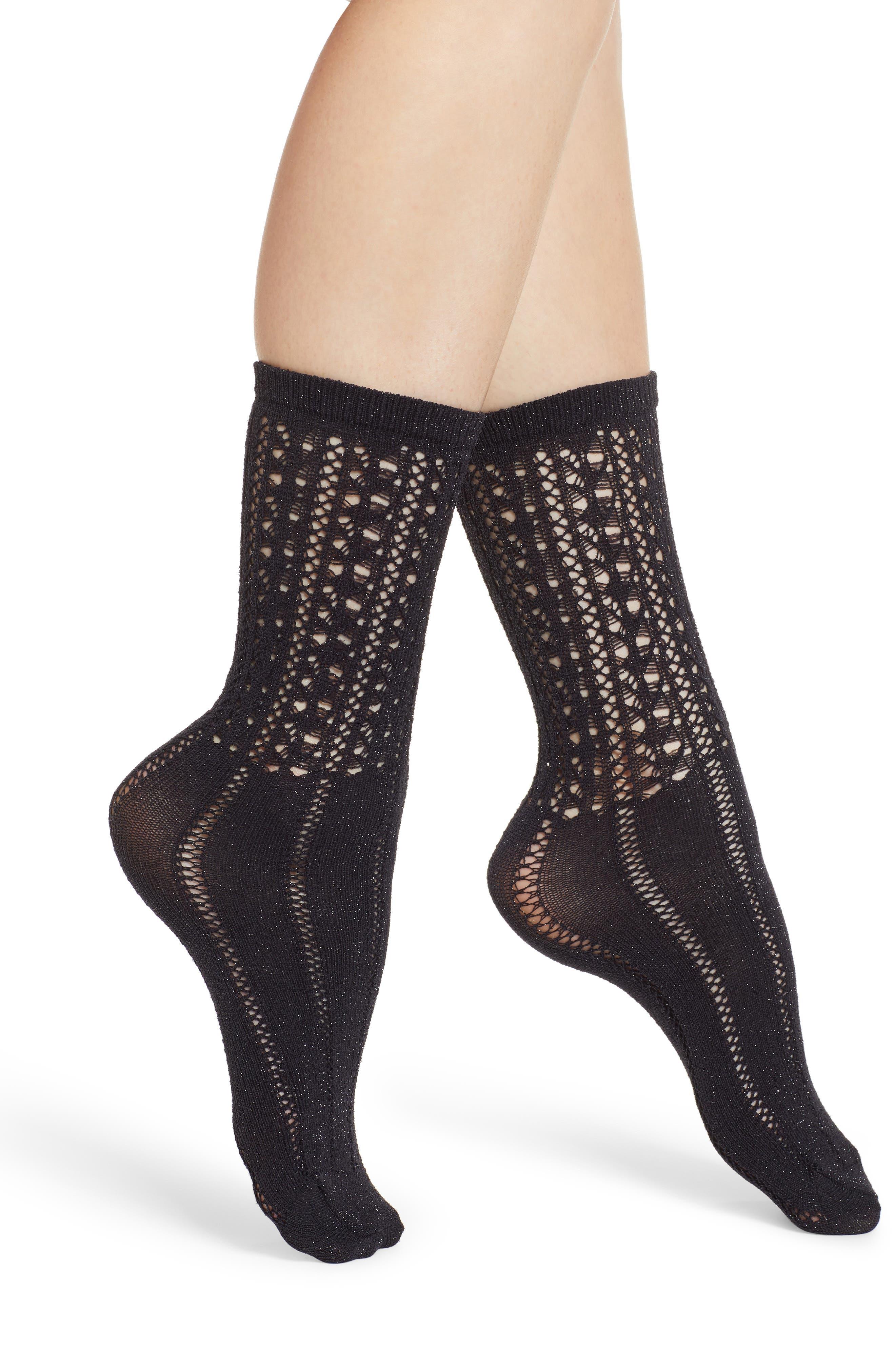 Metallic Openwork Crew Socks, Main, color, BLACK