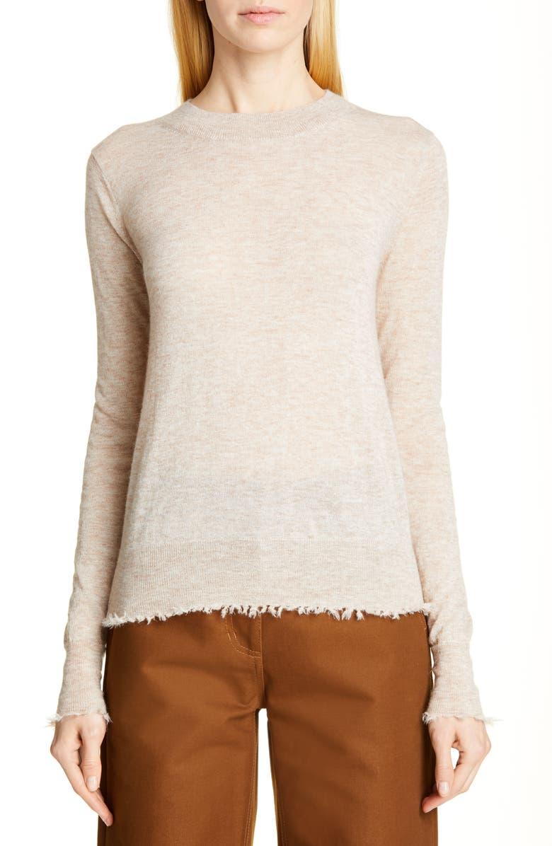 CO Fray Hem Alpaca & Merino Wool Blend Sweater, Main, color, BEIGE