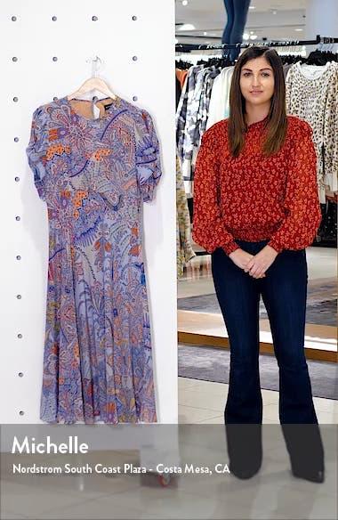 Paisley Print Silk A-Line Midi Dress, sales video thumbnail