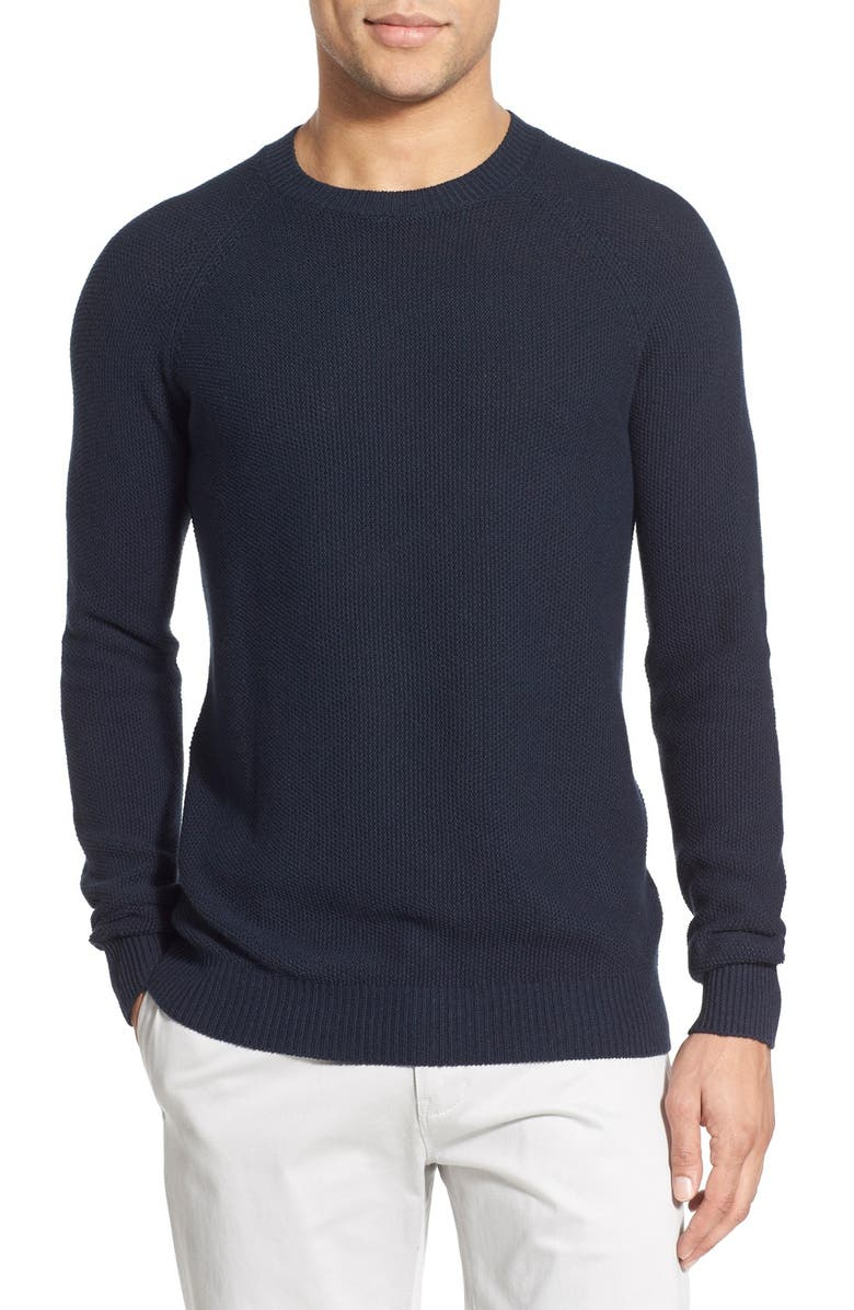 W.R.K Trim Fit Linen & Cotton Crewneck Sweater, Main, color, 410