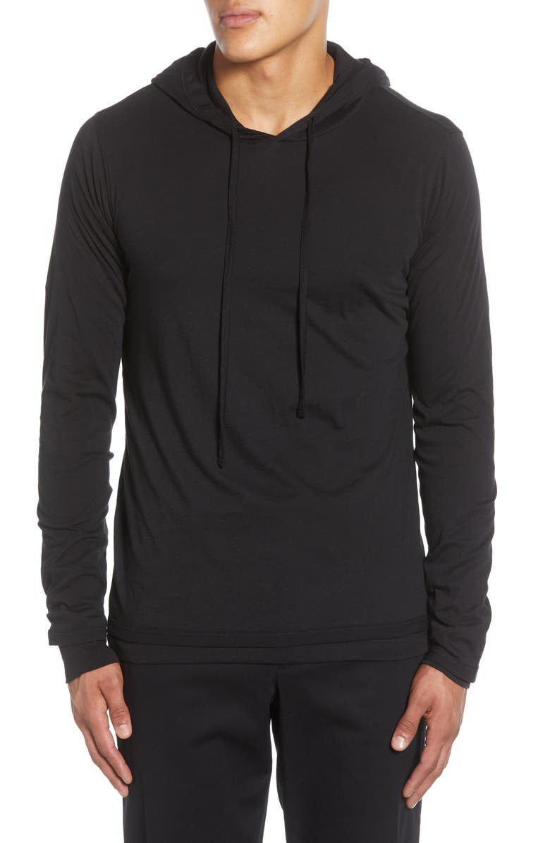 VINCE Double Layer Pullover Hoodie, Main, color, BLACK