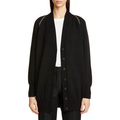 Alexander Wang Zip Shoulder Merino Wool Cardigan, Black